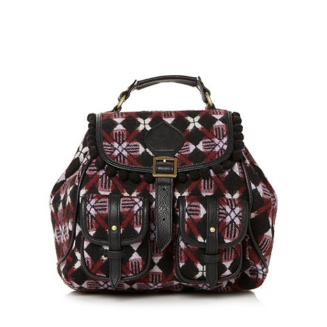 H! by Henry Holland - Designer black checked pom pom detail backpack