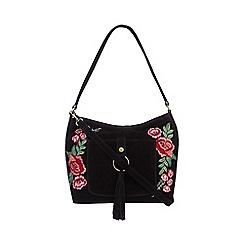 Mantaray - Black suede embroidered hobo bag