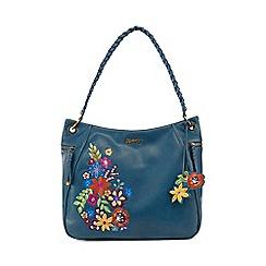 Mantaray - Turquoise floral embroidered shoulder bag