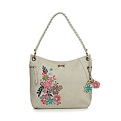 Mantaray - Natural floral embroidered hobo bag