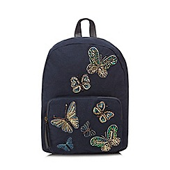 Mantaray - Navy butterfly appliqué back pack