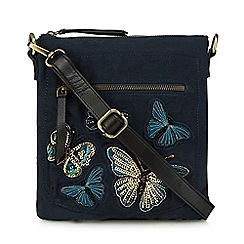 Mantaray - Navy butterfly embroidered cross body bag