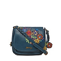 Mantaray - Turquoise floral embroidered saddle bag
