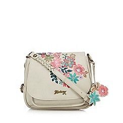 Mantaray - Natural floral embroidered saddle bag