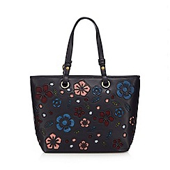 Mantaray - Navy floral cut-out shopper bag