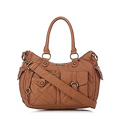 Mantaray - Light brown multi pocket bowler bag
