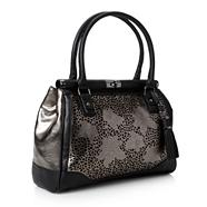 Designer Black Floral Cutout Shoulder Bag