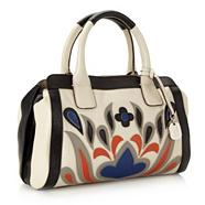 Designer cream applique bowler bag