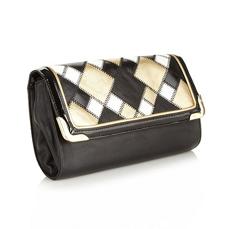 Star by Julien Macdonald - Designer black metallic patchwork clutch bag