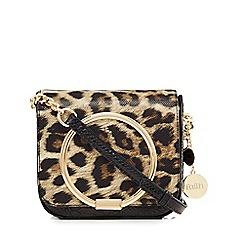 Faith - Light tan and black leopard print cross body bag
