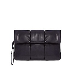 Faith - Black leather fold over clutch bag