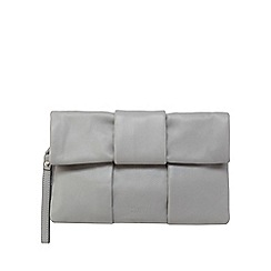 Faith - Grey leather fold over clutch bag