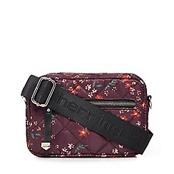 Red Herring - Purple floral print quilted cross body bag