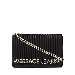 Versace Jeans - Black pleated logo detail cross body bag