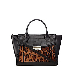 Cavalli Class - Black patent 'Olympia Heritage' leopard print pony hair insert tote bag