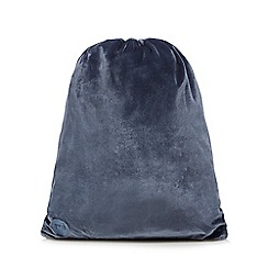 Mi-Pac - Petrol blue velvet drawstring back pack