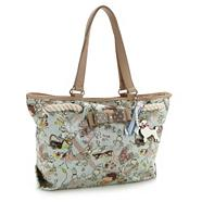 Light blue poodle printed shoulder bag