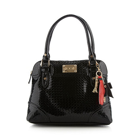 Floozie by Frost French - Black patent weave shoulder bag