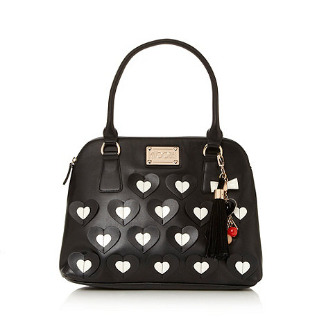 Floozie by Frost French - Black applique hearts kettle bag