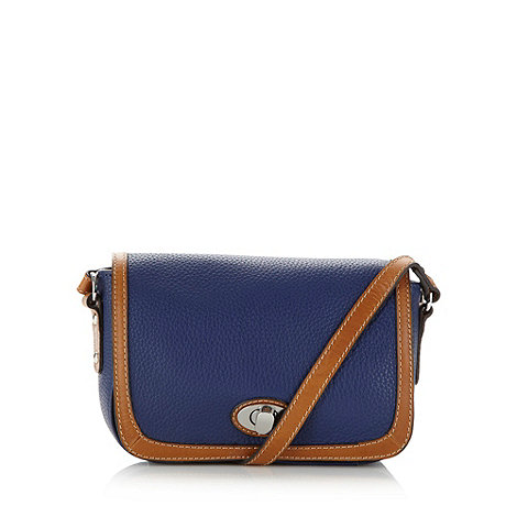 Principles by Ben de Lisi - Designer blue leather twist lock cross body bag