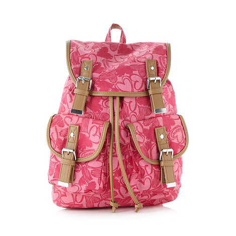 Red Herring - Pink heart printed canvas backpack