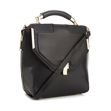 Faith - Black structured across body tote bag