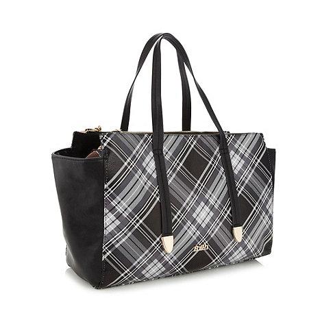 Faith - Grey tartan printed shopper bag