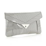 Designer White Striped Clutch Bag