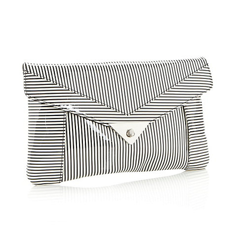 H! by Henry Holland - Designer white striped clutch bag