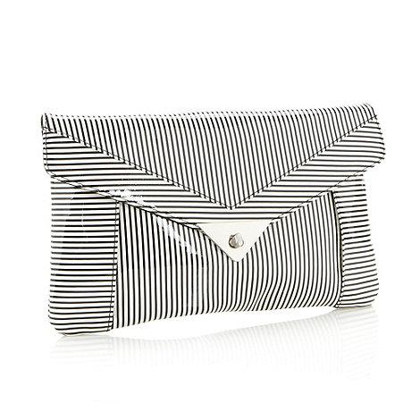 H! by Henry Holland - Designer white striped clutch bag