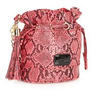 Designer pink neon snake patterned cross body bag