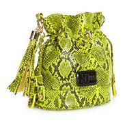 Designer yellow neon snake patterned cross body bag