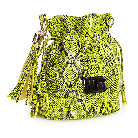 H! by Henry Holland - Designer yellow neon snake patterned cross body bag