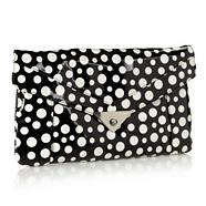 Designer white spotted clutch bag