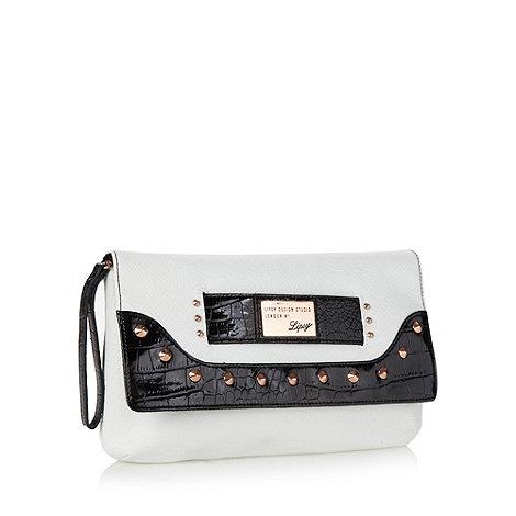 Lipsy - White studded snakeskin clutch bag
