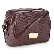 Wine zig zag quilted cross body bag
