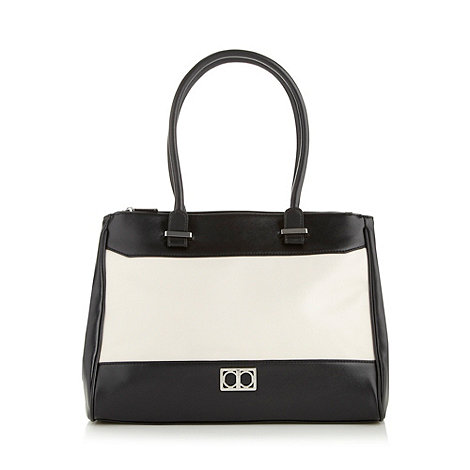 The Collection - Black crosshatch colour block tote bag
