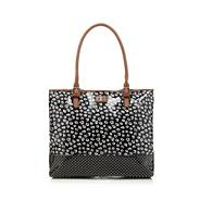 Black floral patent tote bag