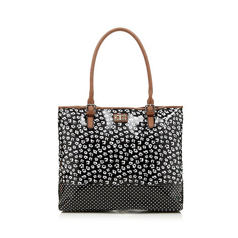 The Collection - Black floral patent tote bag