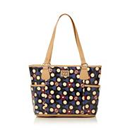 Blue heart and spot printed canvas shoulder bag