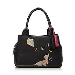The Collection - Black leather applique dog grab bag