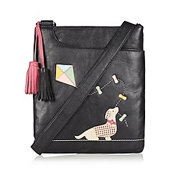 The Collection - Black leather kite stitched cross body bag