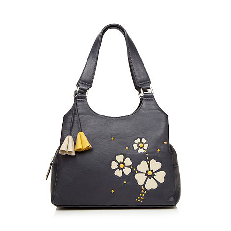 The Collection - Navy daisy applique shoulder bag