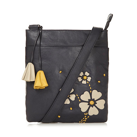 The Collection - Navy applique daisy leather cross body bag