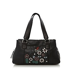 The Collection - Black small butterfly applique three section bag