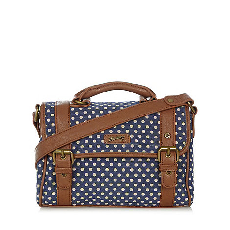 Mantaray - Navy spotted canvas satchel bag