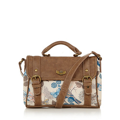 Mantaray - Natural bird and butterfly canvas satchel bag