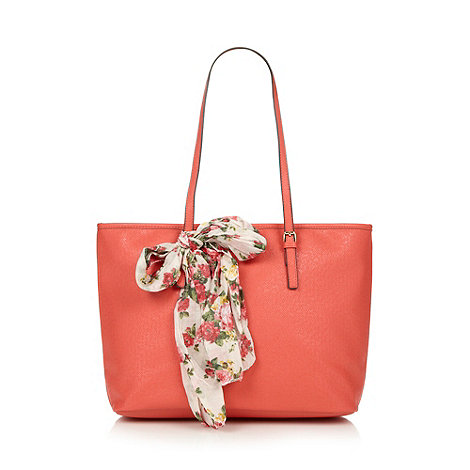 Call It Spring - Coral 'Venetico' scarf detail tote bag