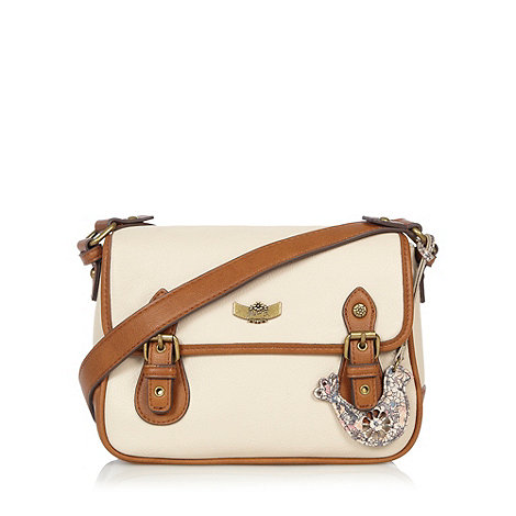 Mantaray - Cream bird charm satchel bag