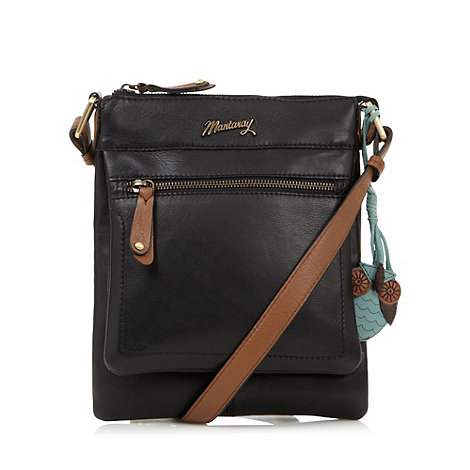 Mantaray - Black leather zip pocket cross body bag